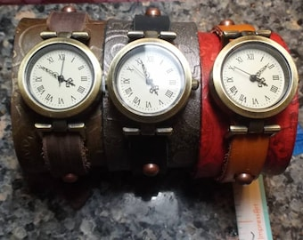 Embossed Gears on Leather Steampunk Watch Band Cuff Adjustable Brown,Red,Black