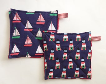 Nautical Christmas Potholder Set, Potholders, Hostess Gift, Foodie