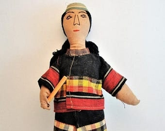 ON SALE Native American Cloth Doll with Embroidered Face