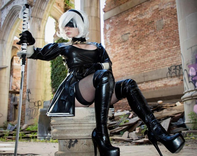 Featured listing image: 2B Nier: Automata Latex Costume.  Includes dress and gloves!
