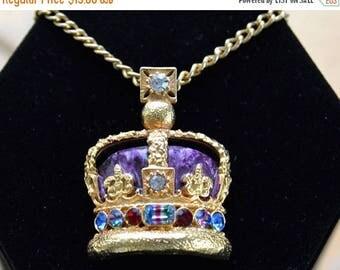 "On sale Enamel, Rhinestone Royal Crown Pendant Necklace, Purple, Multi-Colored, Gold tone, 23"" (C9)"