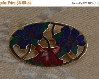 On sale Pretty Vintage Purple, Red, Pink Floral Iris Cloisonne Brooch, PIn, Gold tone (AH7)