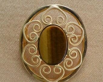 ON SALE Pretty Vintage Tiger's Eye, Filigree Gold tone Brooch, Oval (AL16)