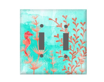 Coral Light switch Cover, Seahorse Switchplate, Beach Cottage Decor, Lighting Home Decor, Rocker Cover, Aqua blue Outlet cover, Lily