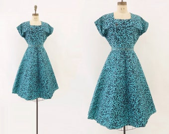 1950s Vintage Dress 50s Teal Party Dress 50s Flocked Taffeta Turquoise Blue Dress 1950s Fit and Flare Holiday Party Dress m