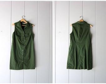 90s Shirt Dress Army Green Button Down Sleeveless Dress Collared Mini Dress Minimal Safari Dress Preppy Summer Dress Womens Medium Large