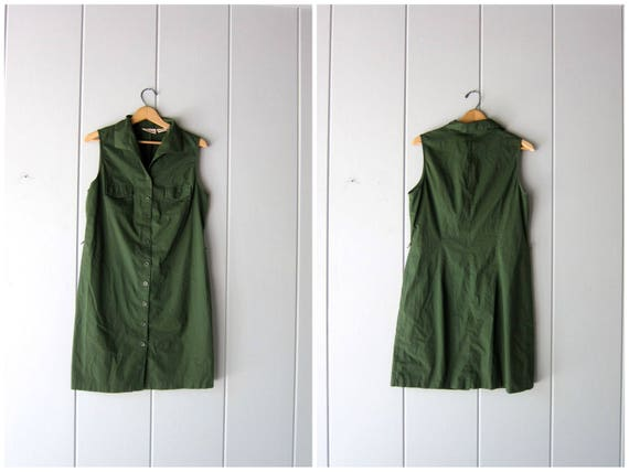 90s Shirt Dress Army Green Button Down Sleeveless Dress Collared Mini Dress Minimal Safari Dress Preppy Summer Dress Womens Medium Large