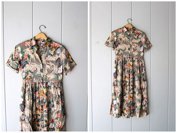 Vintage 90s Floral Dress Cotton Rayon Midi Sun Dress Summer Short Sleeve Day Dress Button Up Safari Resort Dress Boho Preppy Womens XS Small