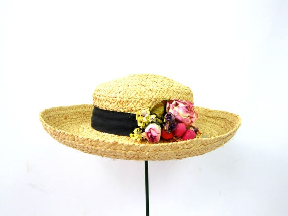 Vintage Brim Straw Hat Gardener Farm Straw Hat Woven Boho Summer Hat Black Ribbon Band with Flowers Natural Straw Hat Womens Small