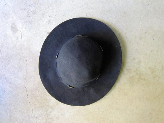 Vintage Black Wool Hat Wide Brim Black Hat Outback Felt Cowgirl Boho Rancher Western Hat with Leather & Conchos Fall Grunge Wool Hat Womens