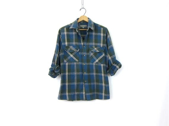 Distressed Blue Plaid Shirt Cotton Flannel Lumberjack Button Up Pocket Oxford Shirt Vintage Rugged Work Shirt Men's Size Medium