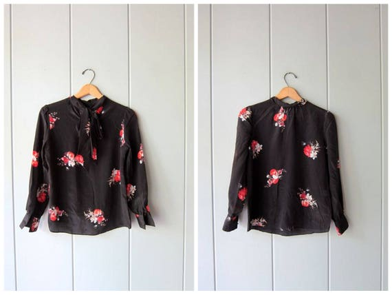 Black Silk Blouse 90s Floral Silk Blouse Button Up Blouse with Ascot Tie Secretary Minimal Modern Casual Top Vintage Womens Small XS