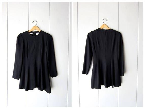 90s Black Mini Dress Modern Long Sleeve Tunic Top Minidress Minimal Black Party Simple Little Black Cocktail Dress Fall Womens Small XS