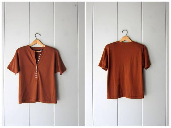 Basic 80s Tshirt Rust Brown Shirt Button Front Henley Tee Simple Cotton Blend Shirt Minimal Boxy Raglan Shirt Normcore Womens Medium