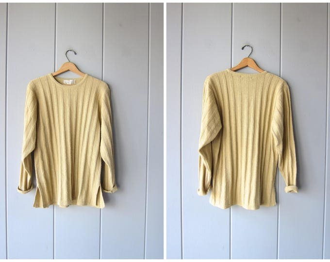 Ribbed Sweater Long Sleeve Rib Shirt Beige Tan Thin Knit Sweater Top 90s Minimal Basic Preppy Pullover Slouchy Sweater Top Womens Large