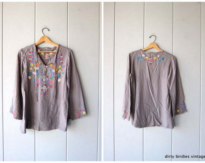 Embroidered Mexican Shirt Colorful Grey Top Oversized Hippie Shirt Boho 90s Ethnic Floral Top Embroidery Tie Up Traditional Womens Medium