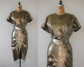 vintage 1980s dress / 80s gold lame dress  / 1980s does 1940s dress / 80s gold cocktail dress / 80s party dress / 80s does 40s dress / M L
