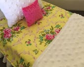 SALE Yellow AG Doll Quilt Bedding Jennifer Paganelli Fabrics  Minky Shabby Pink Roses Pillows American quilt Dollie Blanky Christmas Gift