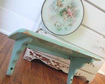 Vintage Shelf * Aqua * Shabby Chic * Cottage * Old Farmhouse