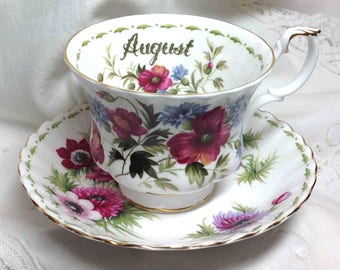 Royal Albert Teacup & Saucer MISMATCH: Cup is August Poppy, Saucer is March Anemone Flower of the Month Pink Purple England Elegant Dining