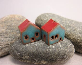 READY TO SHIP...Miniature Terracotta House Beads...Set of 2...Matte Turquoise Walls/Red Roof