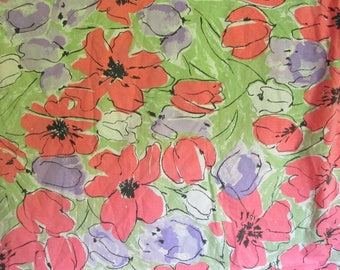 Fab Vintage Vera Twin Fitted Sheet Pink Purple and Green Floral with Black