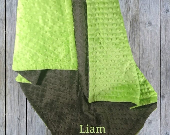 SALE Green and Dark Slate Gray Minky Baby Blanket - Lime Green and Gray Blanket, available in three colorsCan Be Personalized