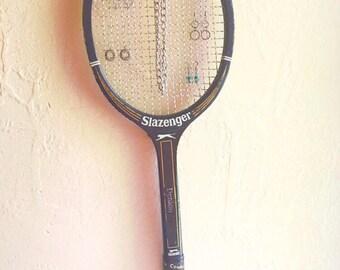 Vintage Black Slazenger Wooden Tennis Racket Sports Wall Hanging Jewelry Rack Bulletin Board