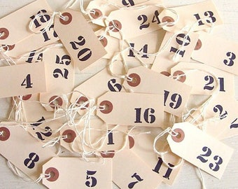Christmas Advent Wedding Table Numbers Numbered Favors Paper Tags 1-25 Classic Wreath Tags - Ready to ship