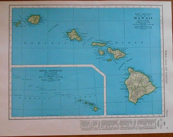 Vintage hawaii map Etsy