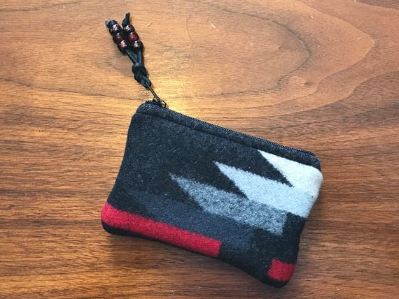 Wool Coin Purse / Phone Cord / Gift Card Holder / Zippered Pouch XL Black & White