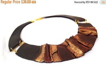 50% OFF SALE Bib leather necklace Leather jewelry Elegant statement necklace.