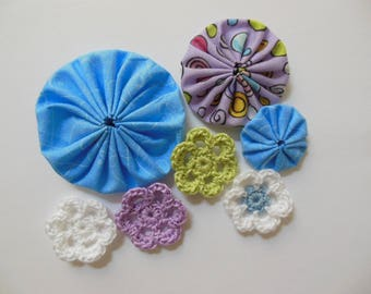 Yo-Yos and Crocheted Flowers - Blue, Lilac and White - Cotton Appliques - Cotton Embellishments - Crocheted Flower Appliques