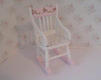 Dollshouse  Nursery Rocking Chair,  pink and white rocker, rose bouquets, nursery rocker,  Twelfth scale, dollhouse miniature