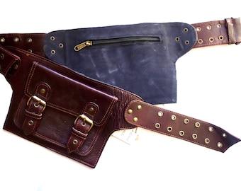 Leather Utility Belt   Maroon Adjustable, 4 Pocket   Saddle   travel, festival, cosplay, fits iPhone