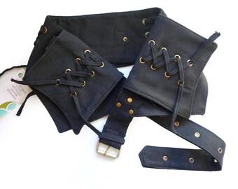 Canvas Utility Belt   Black Ring, 4 pockets   travel, cosplay, festival