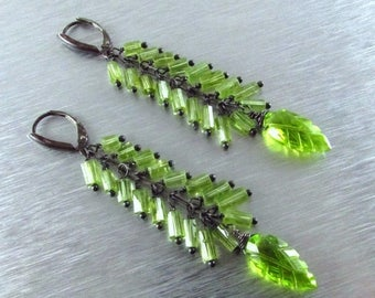 25 OFF Long Peridot With Oxidized Sterling Silver Earrings