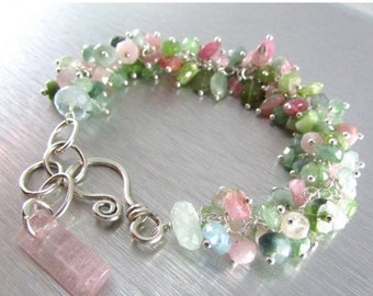 25 OFF Afghan Tourmaline With Sterling Silver Cluster Bracelet