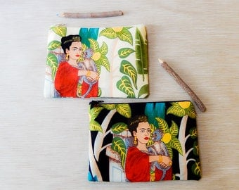 Frida Kahlo Zipper Pouch, Fabric Pouch, Frida Pouch, Coin Purse, Change Pouch, Pouch, Gift for Her, Gift Under 20, Frida Kahlo Gift for Mom