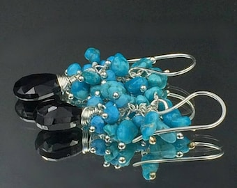 Turquoise Earrings Sterling Silver Cluster Earrings Black Spinel Gemstone Wire Wrapped Cluster Sleeping Beauty Turquoise Nuggets,