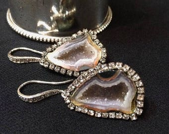 FLASH SALE Tabasco Geode Earrings Geode Druzy Earrings Pave Diamond Style Gemstone Slice Statement Dangle Pave Diamond Look Circle