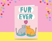 Greeting Card - Fur Ever | Wedding Card | Wedding Card For Cat Lovers