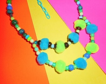 Blue and Green Pompom Necklace