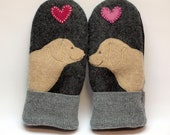 Labrador Wool Sweater Mittens  Gray Cream and Pink Applique and Leather Palm Eco Friendly Upcycled  Size M