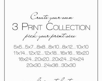 set of three prints, print collection, pick your art, ready to frame art, large wall art, over bed art, gift prints, discount print set