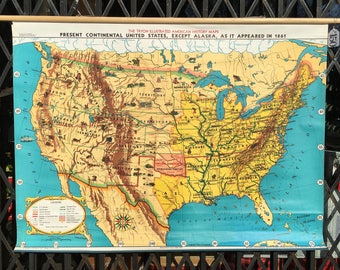 Vintage US History Roll Up Pull Down School Map of the USA in 1861