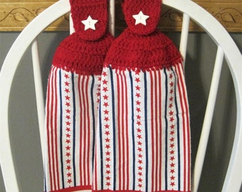 2 Crocheted Hanging Kitchen Towels - Stars and Stripes