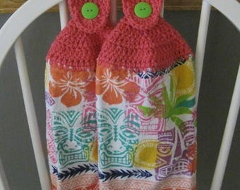 2 Crocheted Hanging Kitchen Towels - Pacific Island Colors