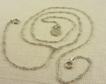 Antique Art Deco Speidel Sterling Long Chain with Original Tag and Spring Ring Drop for Watch