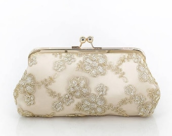 HALF PRICE SALE Metallic Daisy gold Embroidered Tulle Bridal Clutch in Champagne + gold frame | ready to ship